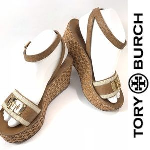 Tory Burch Leather and Rattan Platform Sandals 7.5